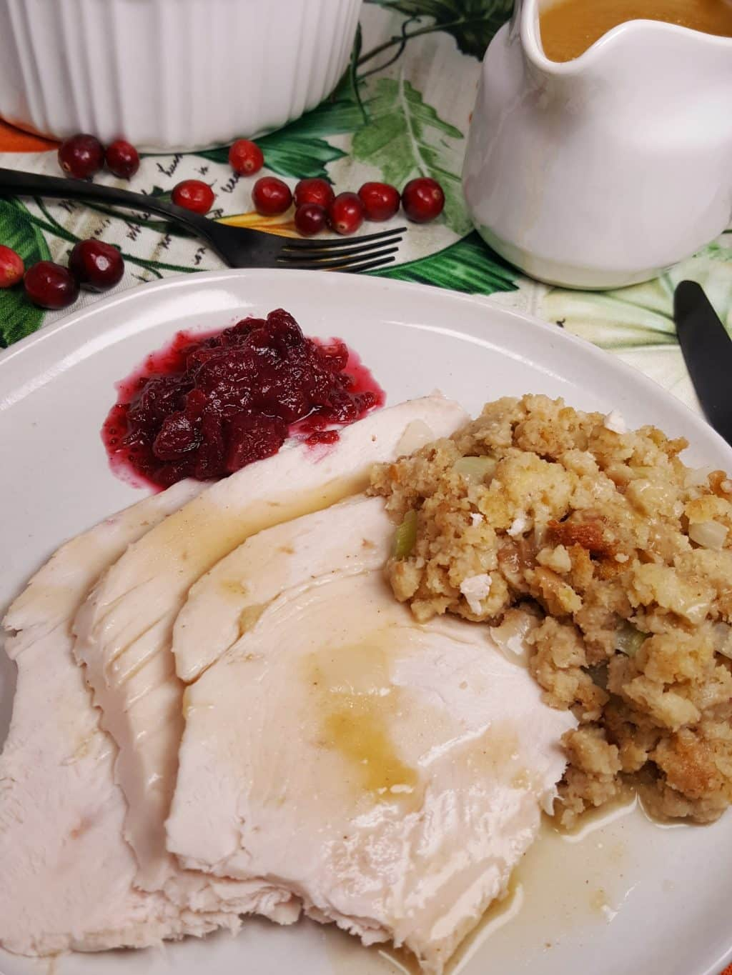 Instant Pot Turkey Breast topped with gravy.