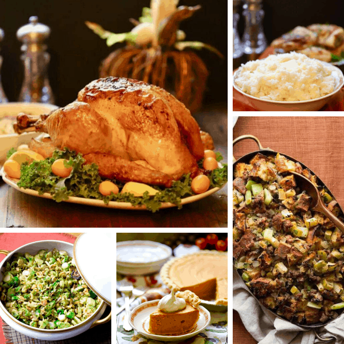 Thanksgiving recipe photos including turkey, stuffing and mashed potatoes.