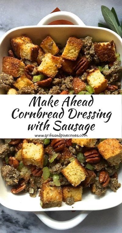 Southern Make Ahead Cornbread Dressing with Sausage is a perfect Thanksgiving side dish. It's delicious, it freezes beautifully, and it's simple and easy to make!