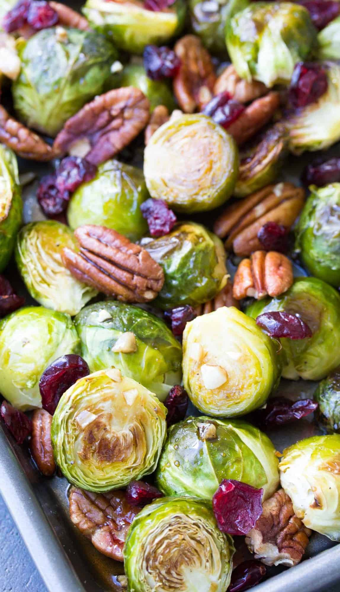 A baking pan full of maple balsamic roasted brussels sprouts.