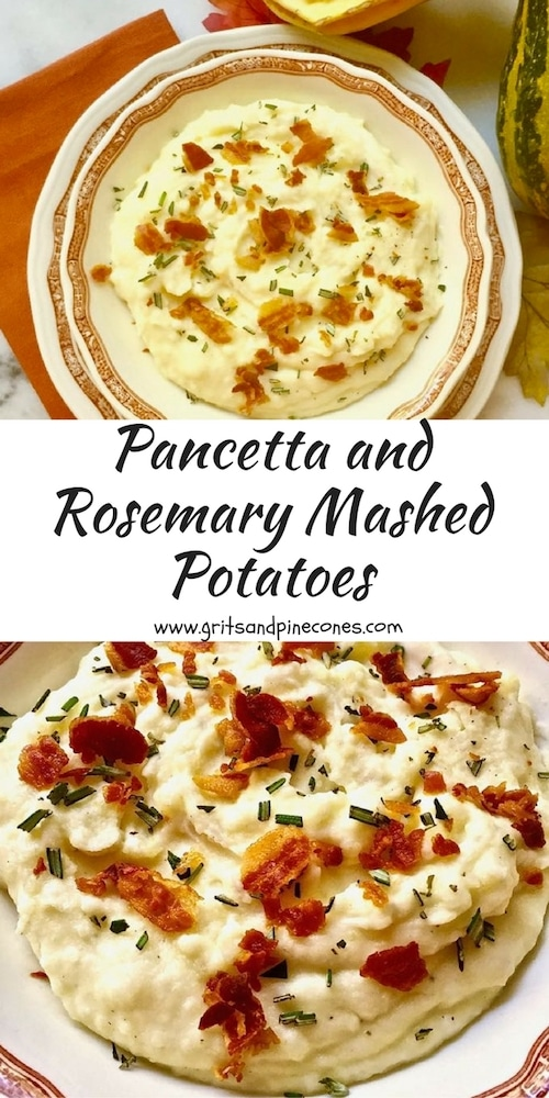 This easy, make-ahead Pancetta and Rosemary Mashed Potatoes recipe is a delicious new twist on a traditional classic.  And, it is a perfect Thanksgiving or Christmas homemade side dish, guaranteed to wow your guests. #mashedpotatoes, #mashedpotatorecipes, #thanksgiving, #thanksgivingrecipes, #thanksgivingsidedishes, #christmasrecipes, #christmassidedishes