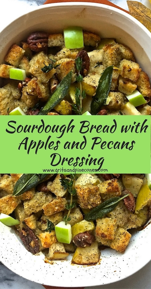 Perfect for Thanksgiving, Sourdough Bread with Apple and Pecan Dressing takes minutes to make, contains toasted sourdough bread, tart apples, pecans, and herbs.#thanksgivingrecipes, #thanksgivingrecipessouthern, #thanksgivingdinner, #thanksgivingfood
