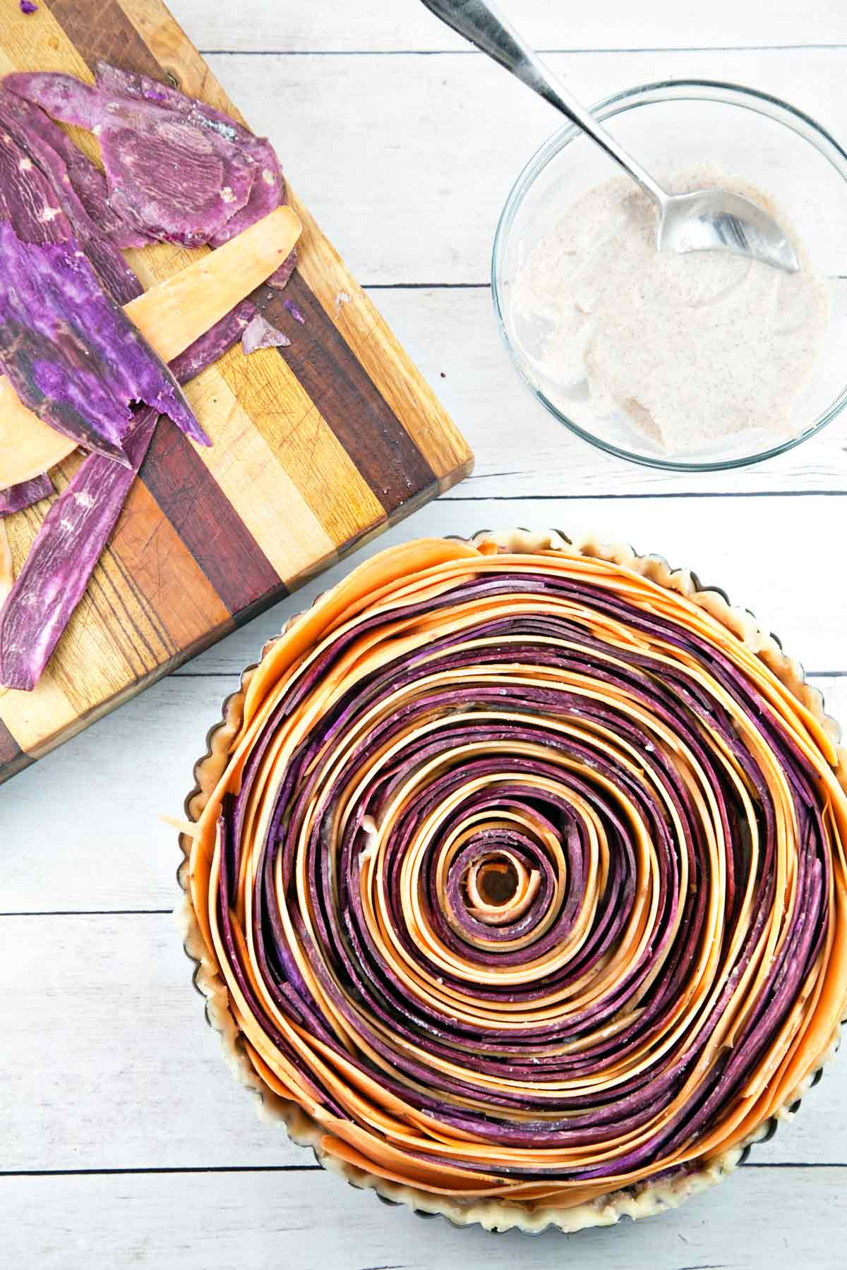 Spiral Sweet Potato Tart using different colors of sweet potato.