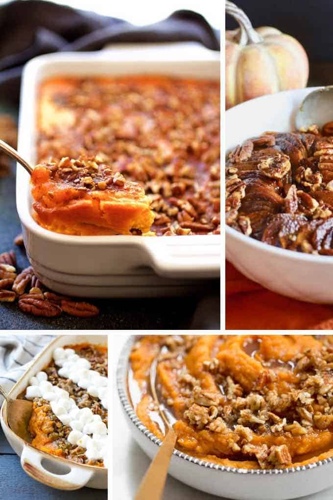 Four images of sweet potato casseroles for Thanksgiving.
