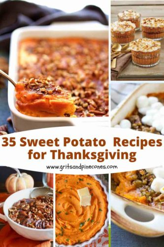 Pinterest pin showing a collage of sweet potato photos.