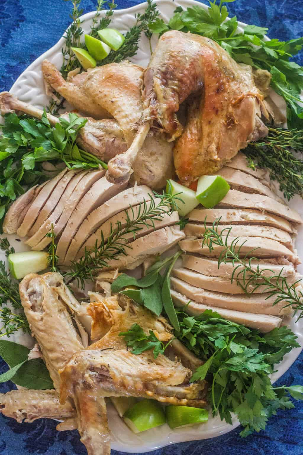 A large platter full of turkey pieces as well as sliced turkey.