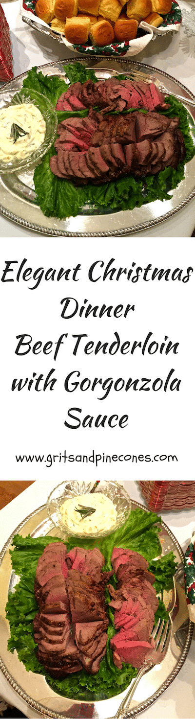 Classic beef tenderloin with gorgonzola sauce is as simple and low-key as it is elegant and guaranteed to impress family and friends! #christmasdinner, #christmasrecipe, #beeftenderloin, #christmaspartyrecipe, #christmasdinnerrecipe, #christmaspartyfood, #christmasappetizer, #newyearsevepartyfood, #holidaypartyrecipe, #appetizerrecipes, #appetizer, #entreerecipes