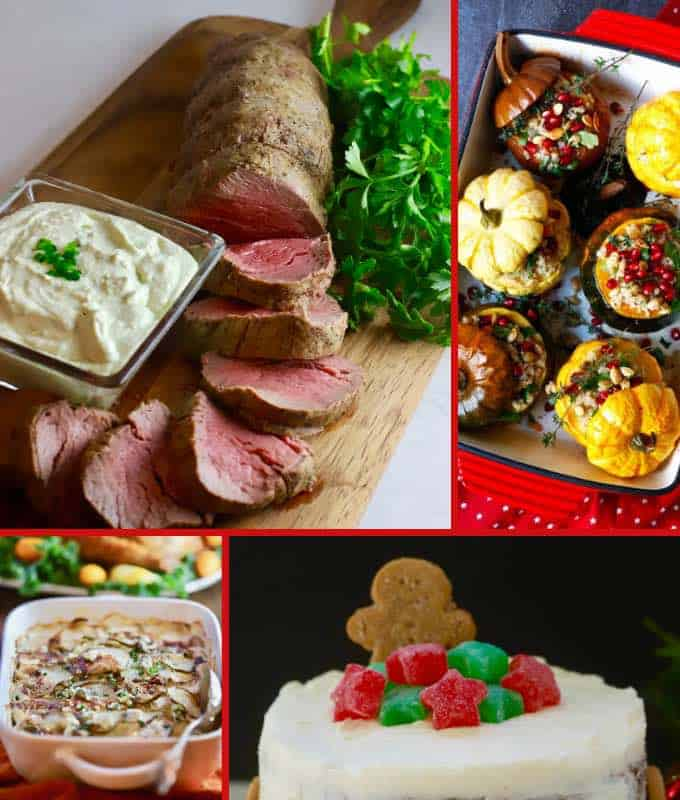 A collage of Christmas dinner dishes including beef tenderloin.