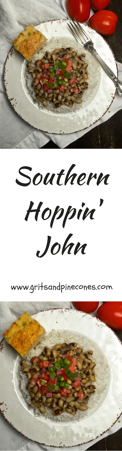 A New Year's Day tradition in the South is eating Hoppin' John for dinner. Hoppin' John is cooked Black-Eyed Peas served over white rice.