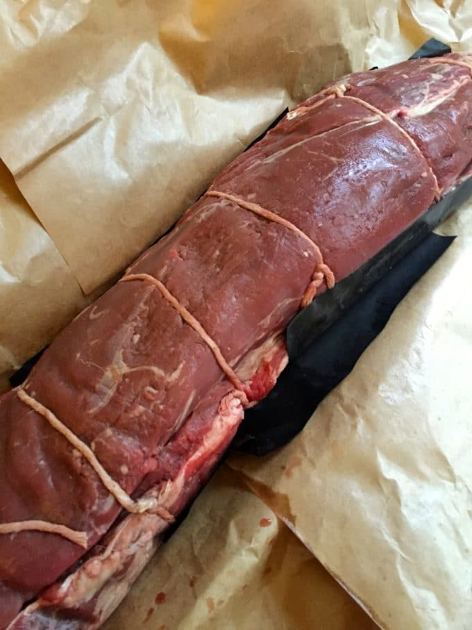 Beef Tenderloin with Gorgonzola Sauce tied and ready to roast