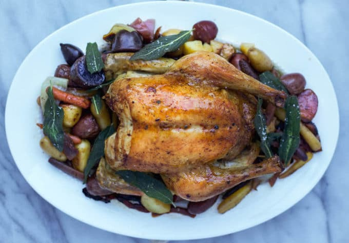 Roast Chicken with Rainbow Carrots
