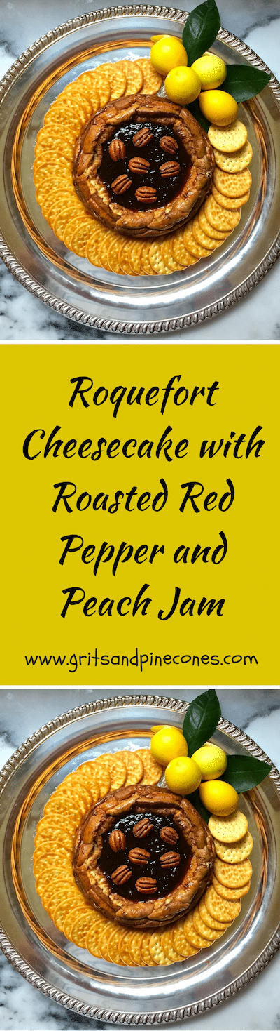 Roquefort Cheesecake with Roasted Red Pepper and Peach Jam is delicious, and it's the ultimate make-ahead holiday party appetizer.