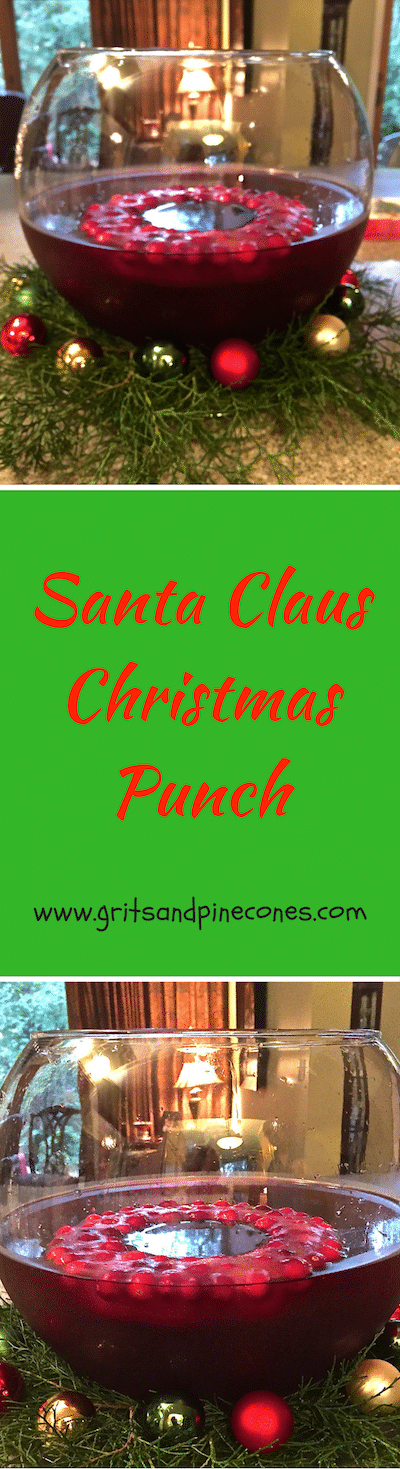 Santa Clause Christmas Punch is an easy, festive, boozy, make-ahead holiday punch that's perfect to serve at a Christmas party or to toast the New Year! #christmascocktails, #christmaspartycocktails, #newyearscocktails, #holidaycocktailrecipes, #christmaspartycocktailrecipes, #cocktails, #newyearsevepartyrecipes, #christmaspartyrecipes