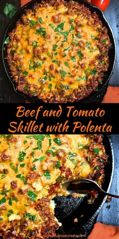 Beef and Tomato Skillet with Polenta is an easy one-skillet meal full of juicy ground chuck, cheese, and tomatoes baked on top of the creamiest polenta imaginable. It's a winner, winner, ground beef dinner!