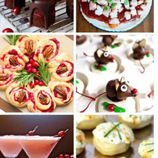 A collage of six party food appetizers for a Christmas party.
