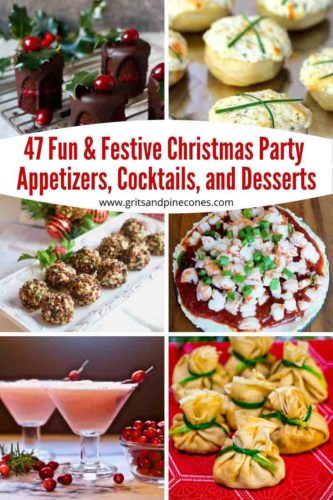 Pinterest pin of photos of holiday appetizers, desserts and cocktails.