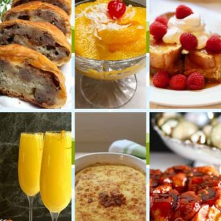 A collage of breakfast images including mimosas, french toast and grits.