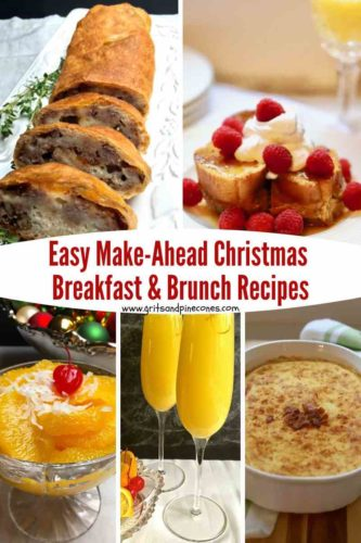 Pinterest pin of make-ahead Christmas breakfast dishes including sausage bread and ambrosia.