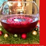 Pinterest pin with a punch bowl on greens and Christmas ornaments.