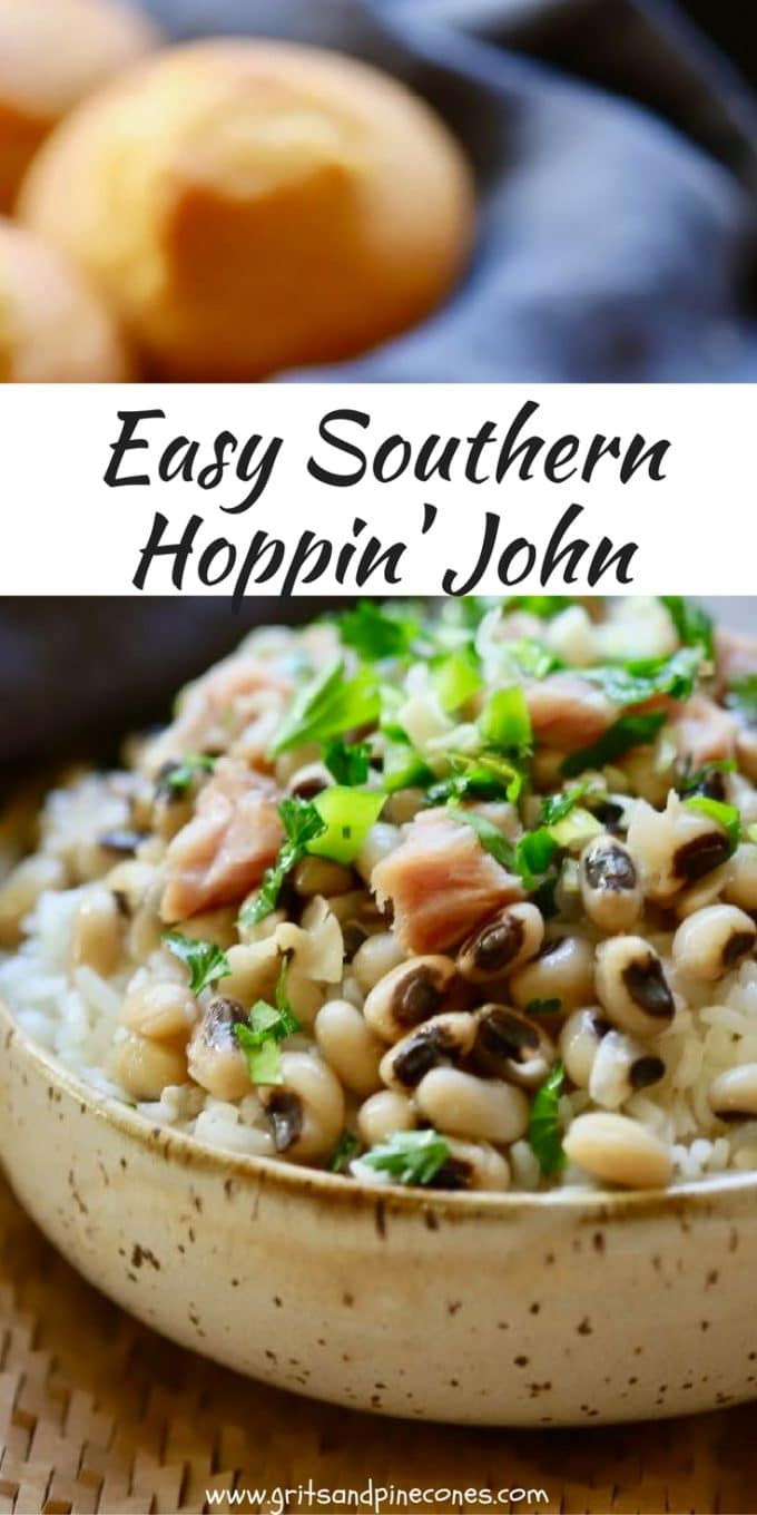 A New Year's Day tradition in the South is eating Hoppin' John for dinner. Hoppin' John is easy and healthy and is cooked Black-Eyed Peas served with rice.