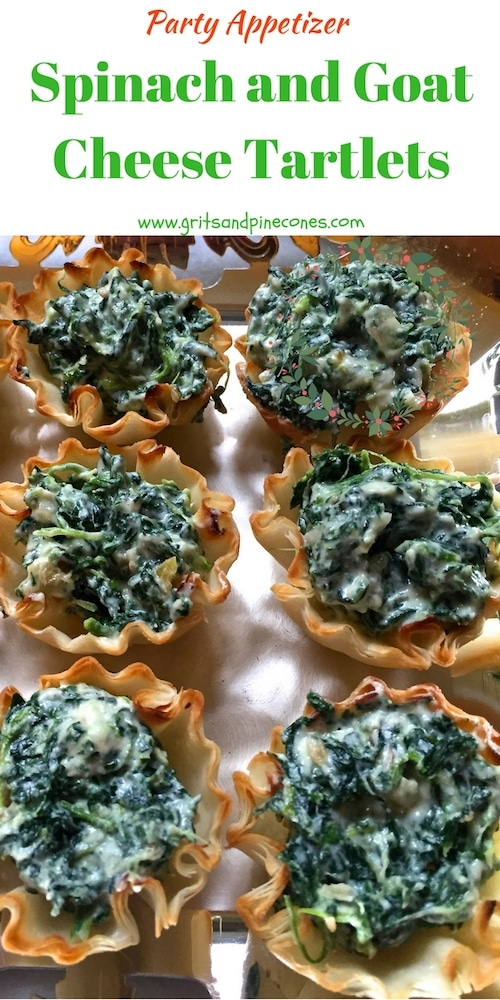 Easy Spinach and Goat Cheese Tartlets are a festive and delicious, make-ahead appetizer and they are perfect to serve or bring to  Christmas and holiday parties.