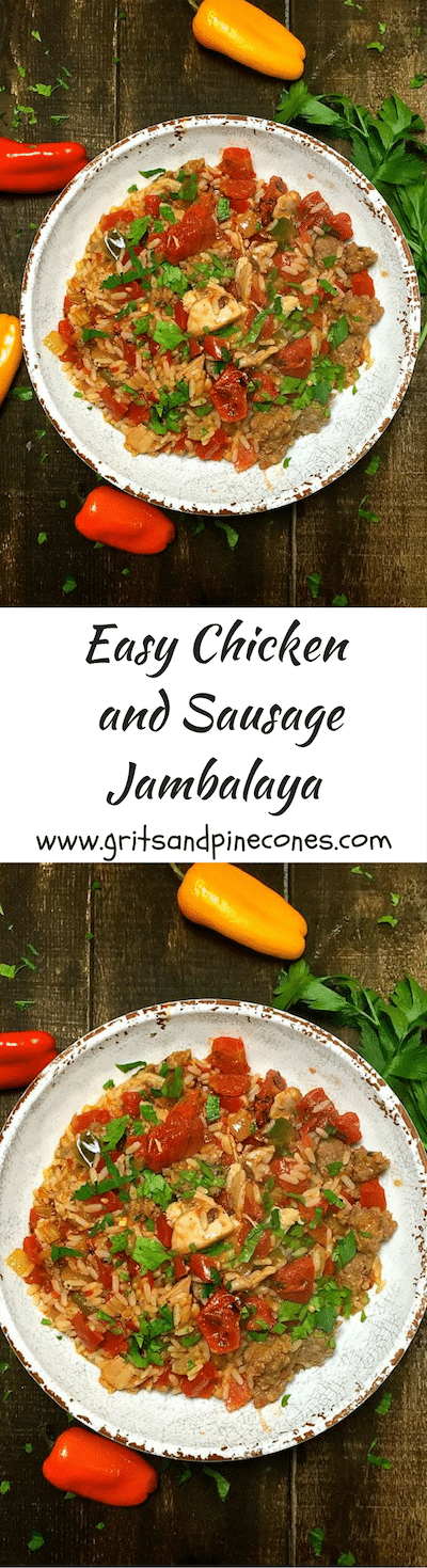 Easy Chicken and Sausage Jambalaya is the ultimate Mardi Gras food, and a delicious entrée found all along the Gulf Coast and Louisiana.
