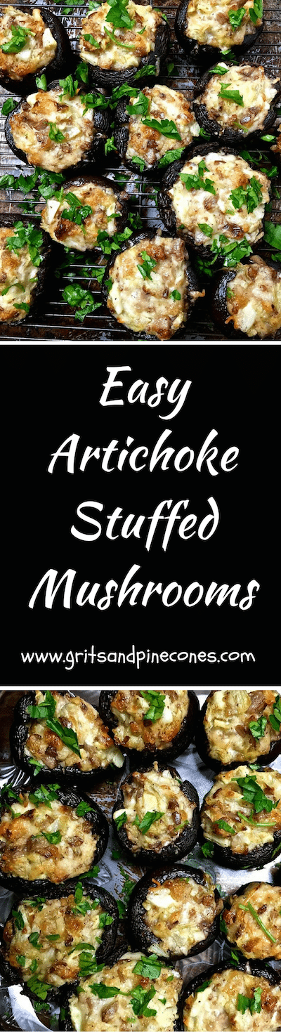 Artichoke Stuffed Mushrooms are a delicious snack for a Super Bowl party, an easy game day snack or really a perfect appetizer for any party!