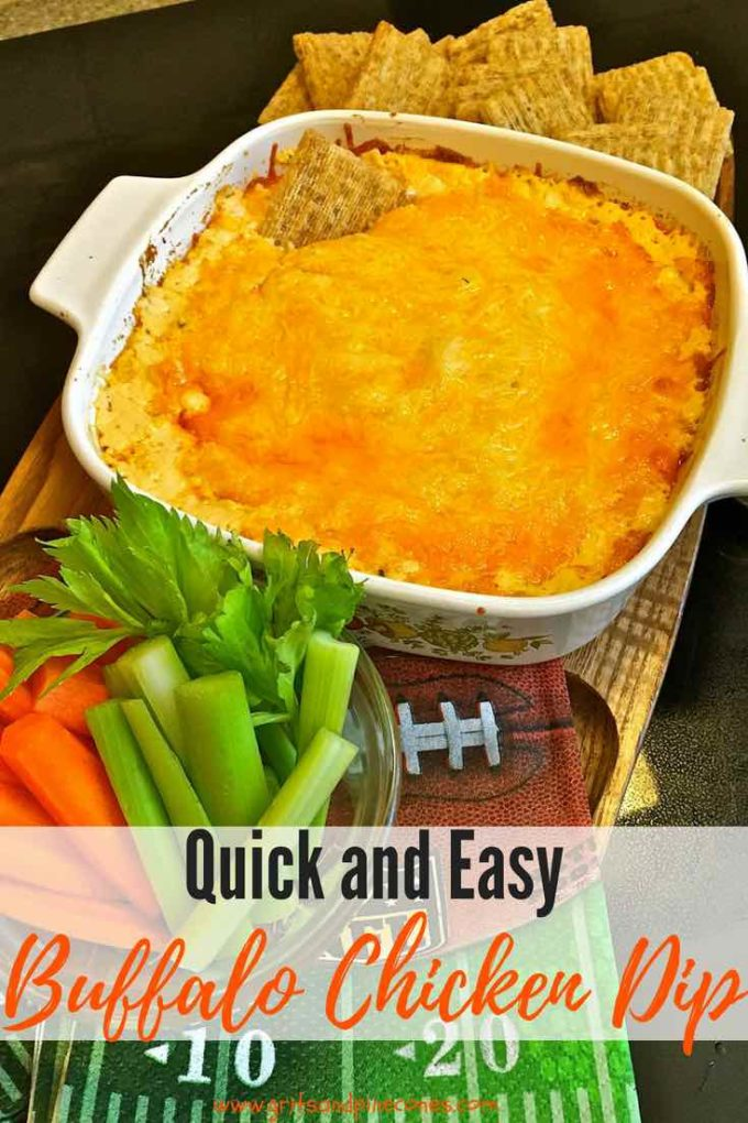 If you love Buffalo wings, you will love this quick and easy oven-baked Buffalo Chicken Dip with Blue Cheese! It tastes just like the wings, but it's the best because there is no mess and it's a perfect game day or tailgate snack! #easyrecipes, #football, #party, #appetizer, #snacks, #tailgating