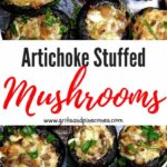 Artichoke Stuffed Mushrooms Pinterest pin