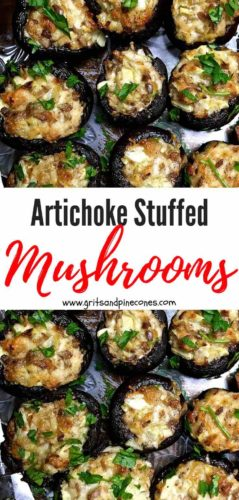 Artichoke Stuffed Mushrooms Pinterest pin