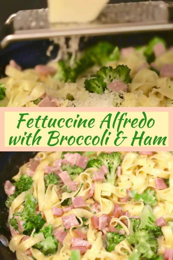 Easy Fettuccine Alfredo with Broccoli and Canadian Bacon is an easy dinner recipe and part of my Simple Summer Supper series. It's a kid-friendly meal that you can have on the table in just 15 minutes flat. Check it out today and learn how to make quick and easy homemade Alfredo sauce. #fettuccine, #fettuccinealfredo, #fettuccinerecipe, #comfortfood, #comfortfoodrecipes, #broccoli, #easydinnerrecipe