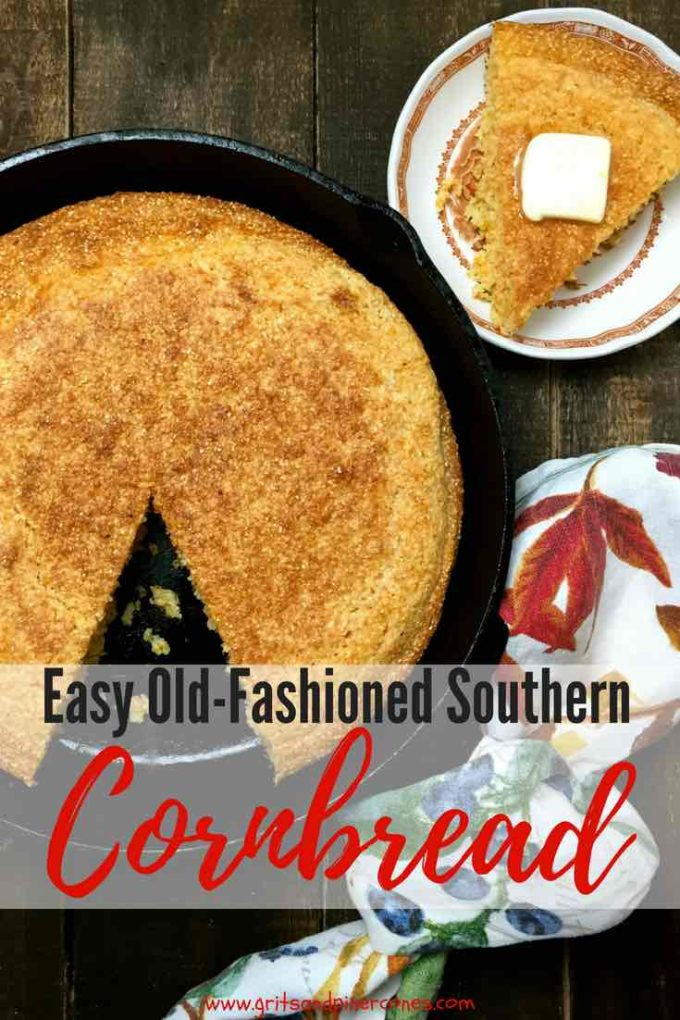 Moist Old Fashioned Southern Cornbread made from scratch in a cast iron skillet with buttermilk is a true Southern staple and an easy gluten-free recipe! #cornbread, #sidedish, #bread, #comfortfood, #dinner, #dinnerrecipes, #dinner, #easyrecipes