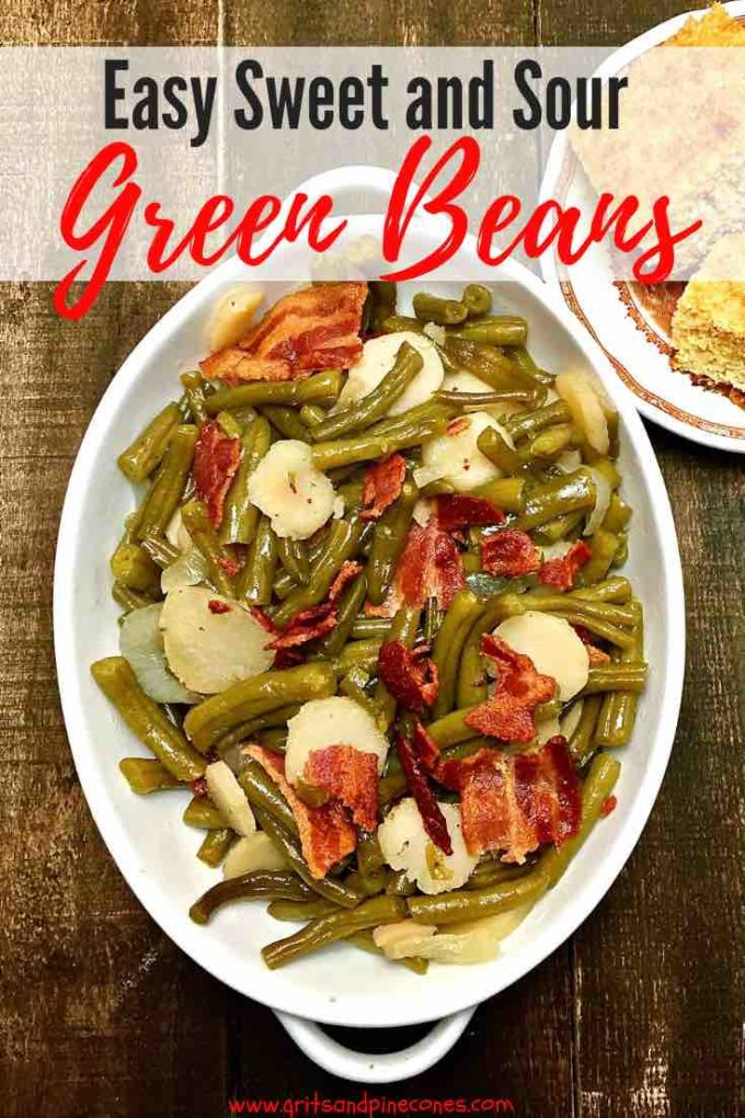 Southern Sweet and Sour Green Beans with smokey bacon, crunchy water chestnuts, and sweet onions, tastes just like its name!  It's also one delicious and easy green bean recipe, which deserves a place of honor in your repertoire of
