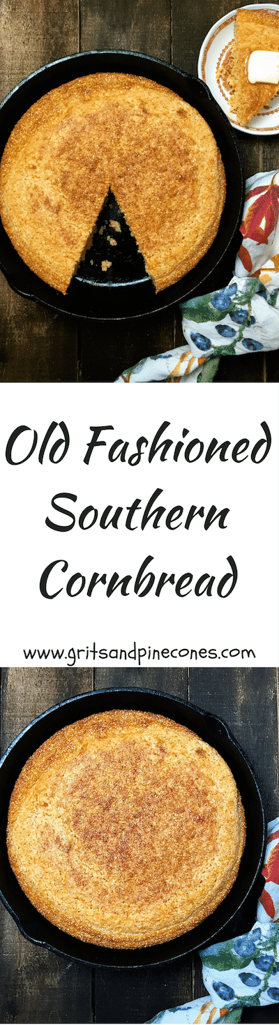 Old Fashioned Southern Cornbread made in a cast iron skillet with buttermilk is a true Southern staple and an easy gluten-free recipe!