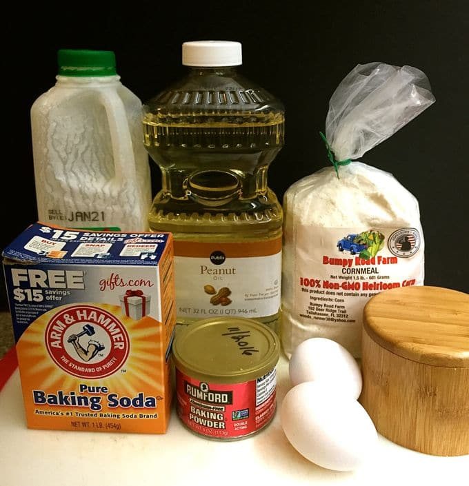 Old Fashioned Southern Cornbread ingredients which include buttermilk, cornmeal, baking soda and baking powder