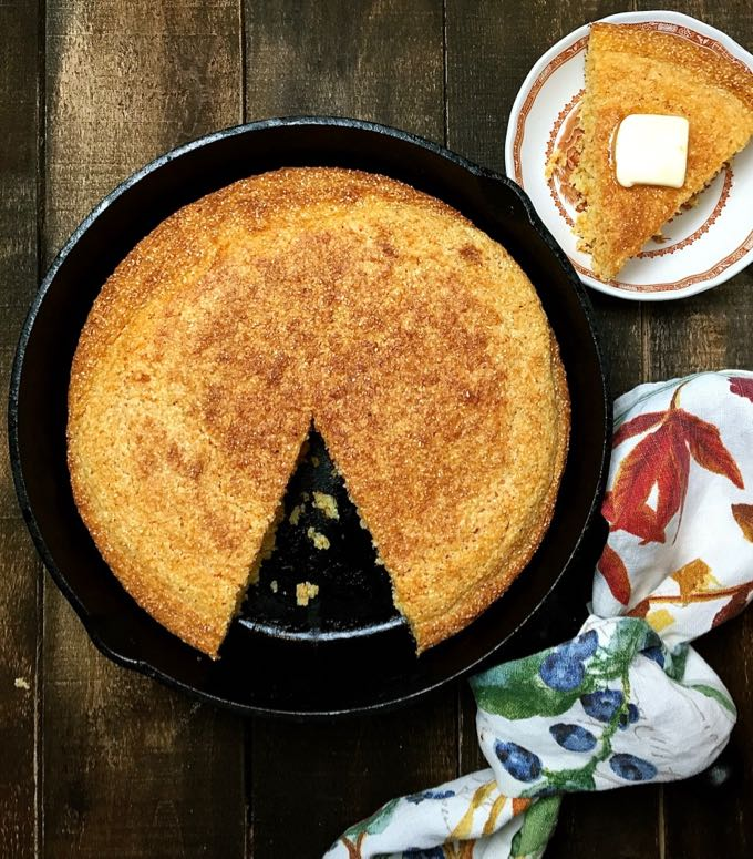 Old Fashioned Southern Cornbread ready to eat