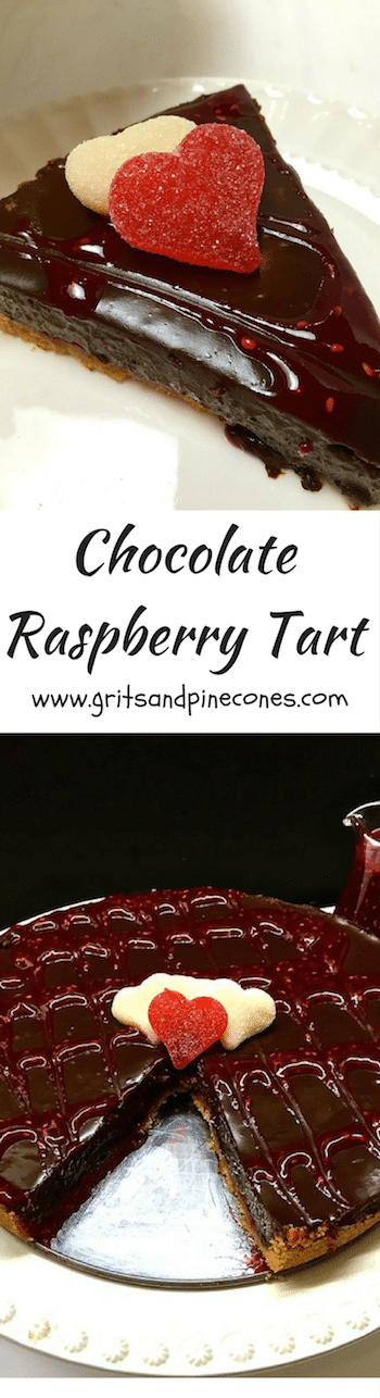 Rich and decadent Chocolate Raspberry Tart with a biscotti crust and two different kinds of chocolate is the perfect Valentine's Day dessert for those you love! Make it today!