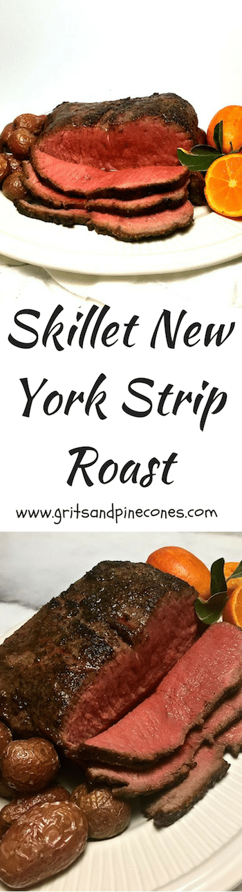 Skillet New York Strip Roast is perfect for your holiday dinner; it's quite possibly the most delicious and tender roast beef you will ever taste, and, it's easy to prepare! #newyorkstriproast, #christmasdinner, #christmasdinnerrecipes, #easterdinner, #easterdinnerrecipes, #roastbeefrecipes, #roastbeef, #newyorkstriploinroast, #entrees, #beefentrees