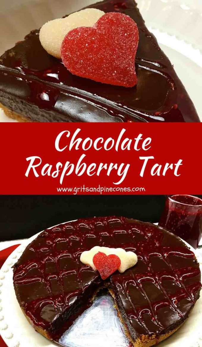 Chocolate Raspberry Tart is the ultimate romantic dessert for Valentine's Day and the chocolate lovers in your life. This easy recipe features a rich and decadent filling with two kinds of chocolate which isalmost truffle-likein its consistency and you won't believe how utterly delicious the biscotticrust is! #valentinesdaydesserts, #valentinesdayrecipes, #desserts, #chocolate desserts