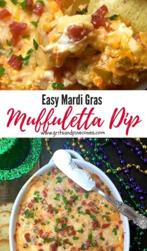 Mardi Gras Hot Muffuletta Dip Pinterest pin.