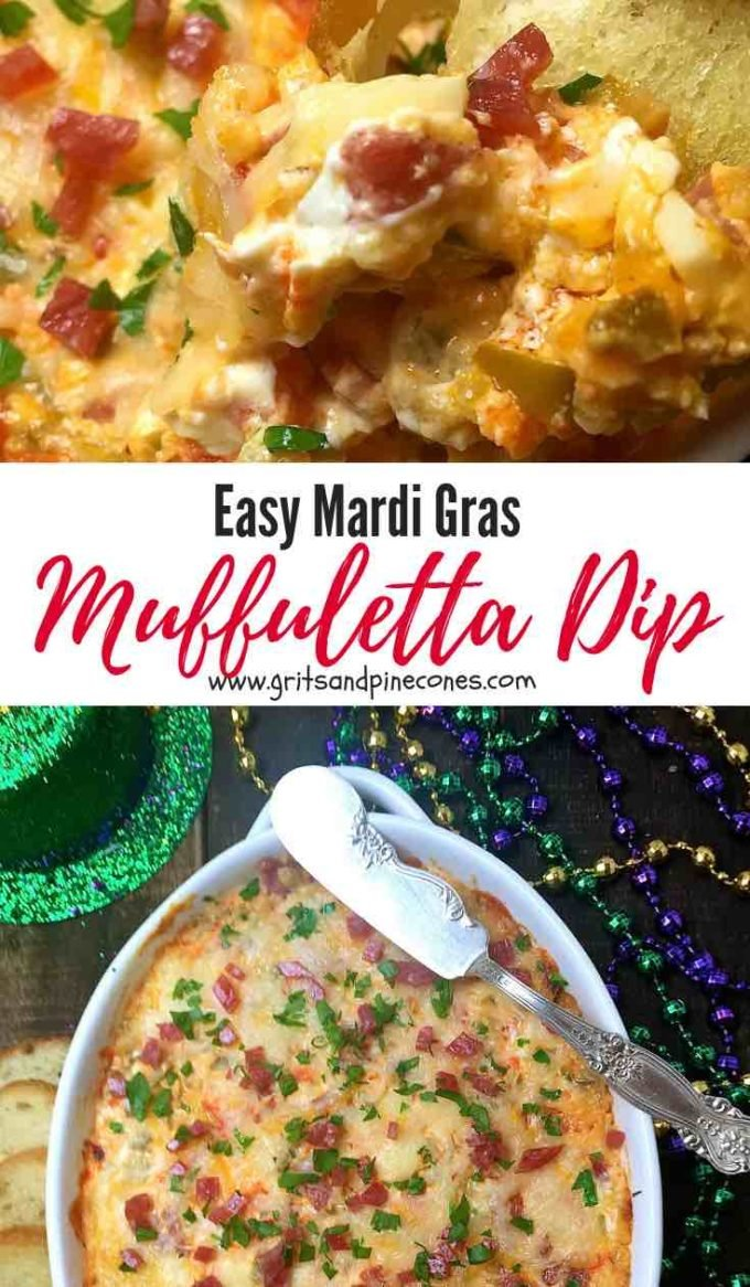 Looking for Mardi Gras recipes or food ideas for a party. Check out this Easy Mardi Gras Hot Muffuletta Dip, which is a tantalizing hot dip made with tasty green olives, salami, provolone cheese, and tangy giardiniera. It's a must try for Mardi Gras as well as perfect for a Super Bowl party! #mardigrasfoodideas, #mardigrasrecipes, #mardigrasparty