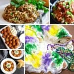 Five photos of Mardi Gras dishes including king cake, dirty rice and jambalaya.
