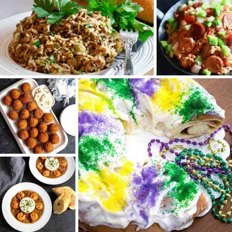 Five photos of Mardi Gras dishes including king cake, dirty rice and jambalaya.