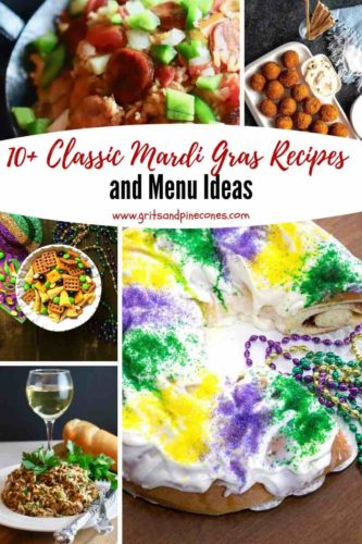 Pinterest pin for Mardi Gras recipes and menu ideas.