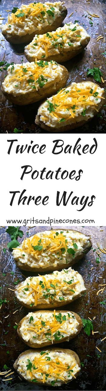 Twice Baked Potatoes are the ultimate make-ahead side dish and a delicious indulgence with creamy butter, tangy sour cream, cheddar cheese and savory bacon.