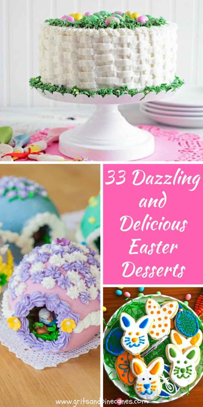 33 Dazzling, Decadent and Delicious Easter desserts include easy recipes and creative ideas, for all manner of desserts, including cakes, cheesecake, cupcakes, elegant desserts, desserts for kids, cute new twists on old favorites, and even some healthy, gluten-free, and vegan options. Whether you are cooking for two or a crowd, this roundup of Easter desserts has all of the dessert options you will ever need for your Easter dinner or brunch!
