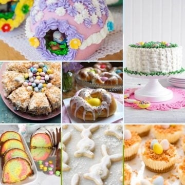 Seven pictures of Easter desserts including two cakes.