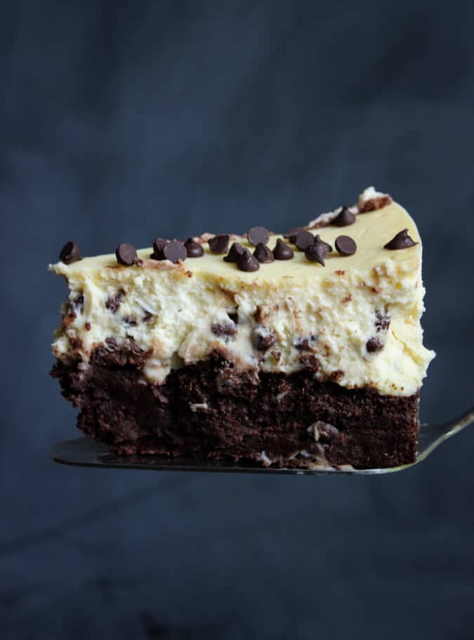 A slice of cheesecake with two layers, one vanilla and the other chocolate.