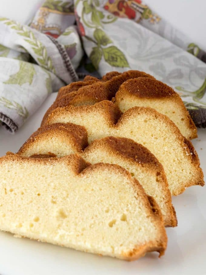 Several slices of pound cake.