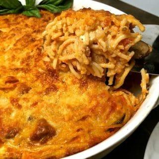 Delicious Spaghetti Pie ready to serve
